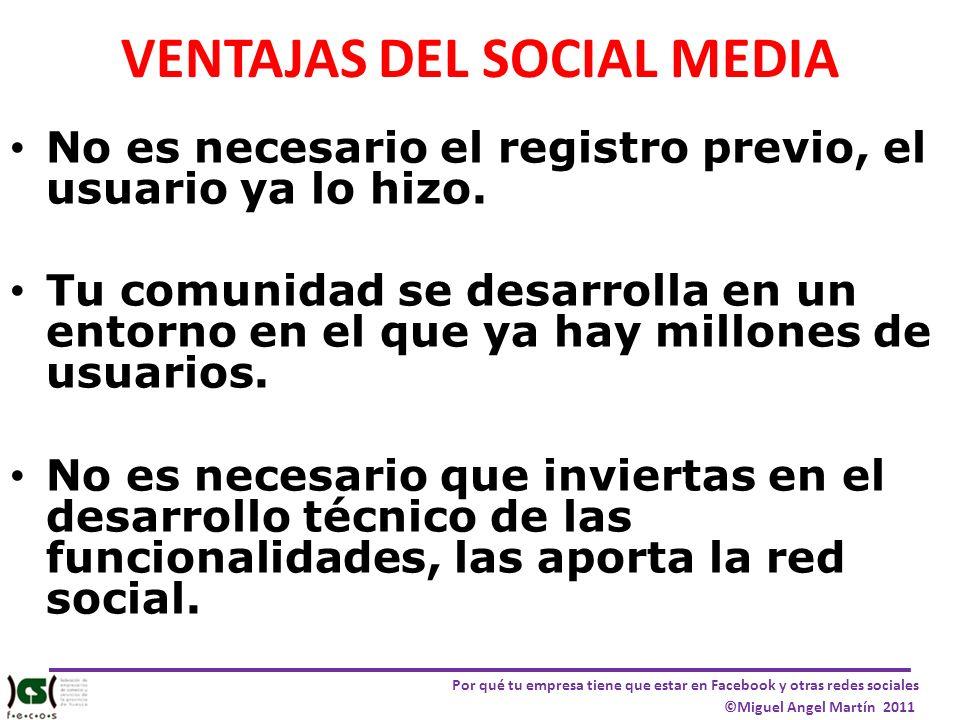 Por qué tu empresa tiene que estar en Facebook y otras redes sociales ©Miguel Angel Martín 2011 VENTAJAS DEL SOCIAL MEDIA No es necesario el registro
