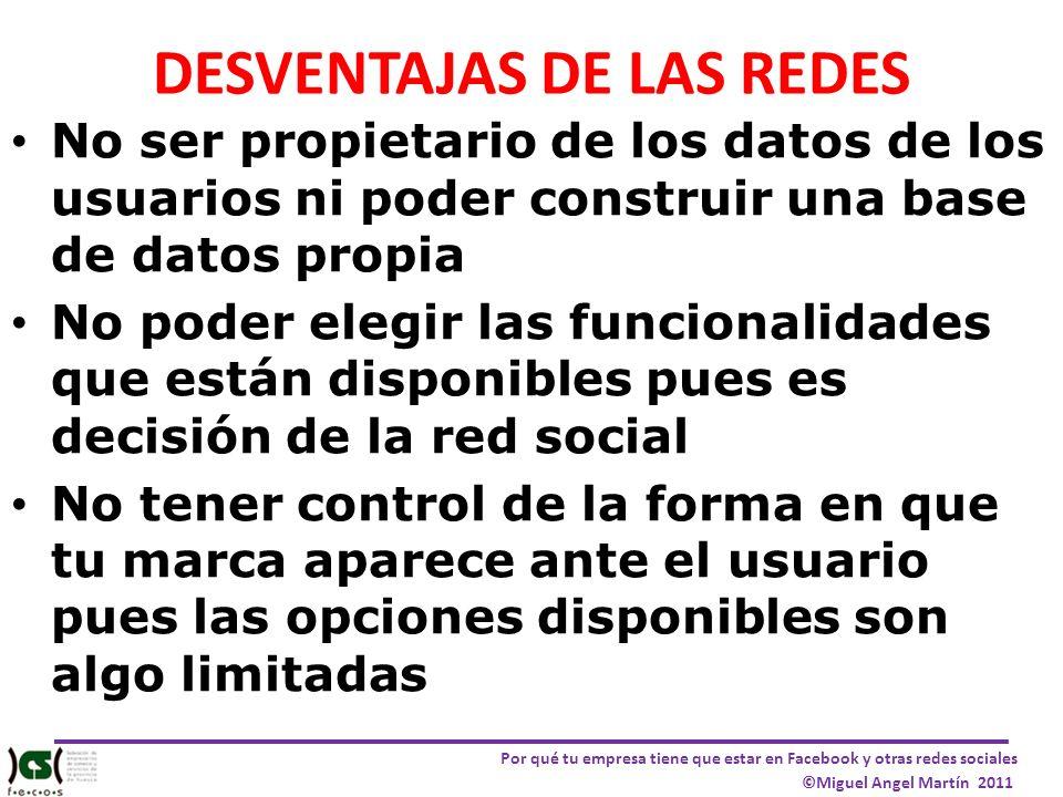 Por qué tu empresa tiene que estar en Facebook y otras redes sociales ©Miguel Angel Martín 2011 DESVENTAJAS DE LAS REDES No ser propietario de los dat
