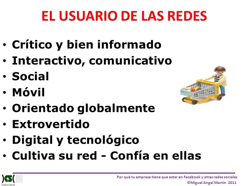Por qué tu empresa tiene que estar en Facebook y otras redes sociales ©Miguel Angel Martín 2011 EL USUARIO DE LAS REDES Crítico y bien informado Inter