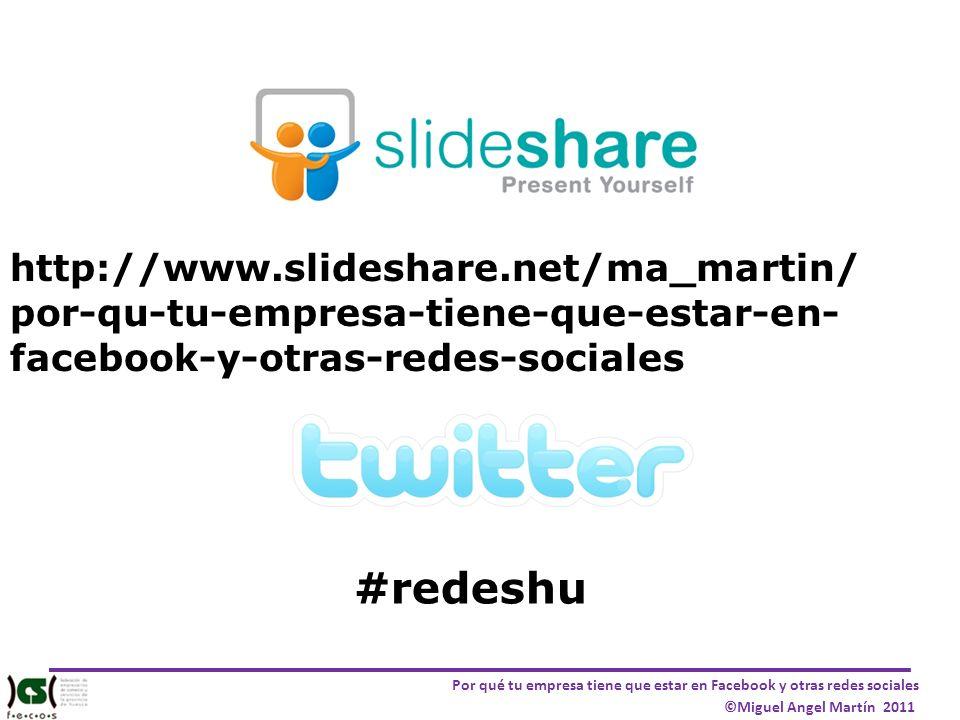 Por qué tu empresa tiene que estar en Facebook y otras redes sociales ©Miguel Angel Martín 2011 ETAPAS PARA ENTRAR EN EL SOCIAL MEDIA Implicación Escucha Interacción Medición
