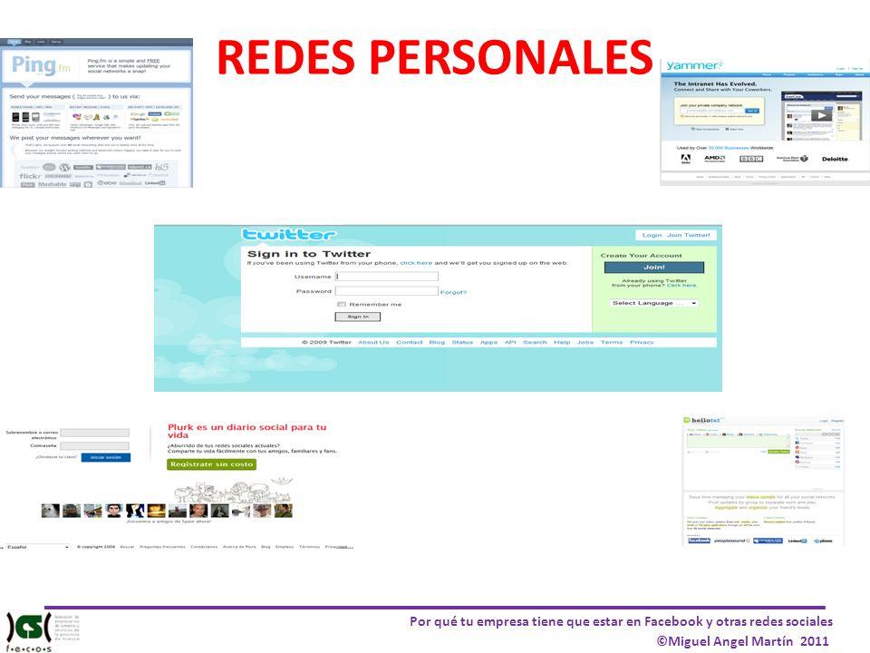 Por qué tu empresa tiene que estar en Facebook y otras redes sociales ©Miguel Angel Martín 2011 REDES PERSONALES