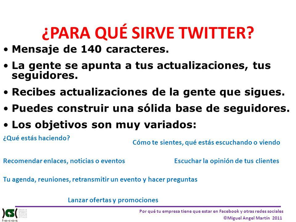 Por qué tu empresa tiene que estar en Facebook y otras redes sociales ©Miguel Angel Martín 2011 ¿PARA QUÉ SIRVE TWITTER? Mensaje de 140 caracteres. La