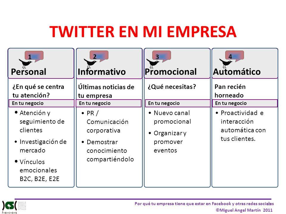 39 Por qué tu empresa tiene que estar en Facebook y otras redes sociales ©Miguel Angel Martín 2011 TWITTER EN MI EMPRESA 4 Pan recién horneado Automát