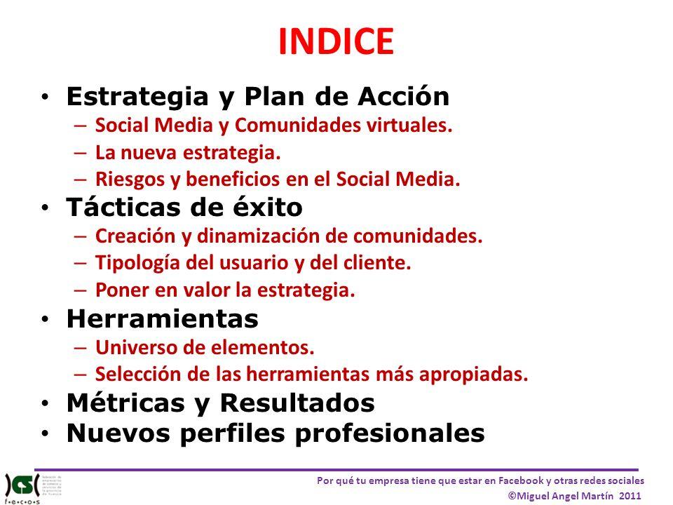 Por qué tu empresa tiene que estar en Facebook y otras redes sociales ©Miguel Angel Martín 2011 INDICE Estrategia y Plan de Acción – Social Media y Co