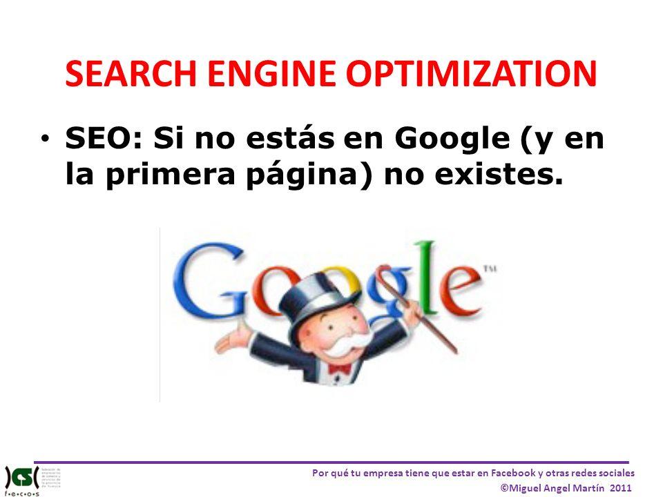 Por qué tu empresa tiene que estar en Facebook y otras redes sociales ©Miguel Angel Martín 2011 SEARCH ENGINE OPTIMIZATION SEO: Si no estás en Google