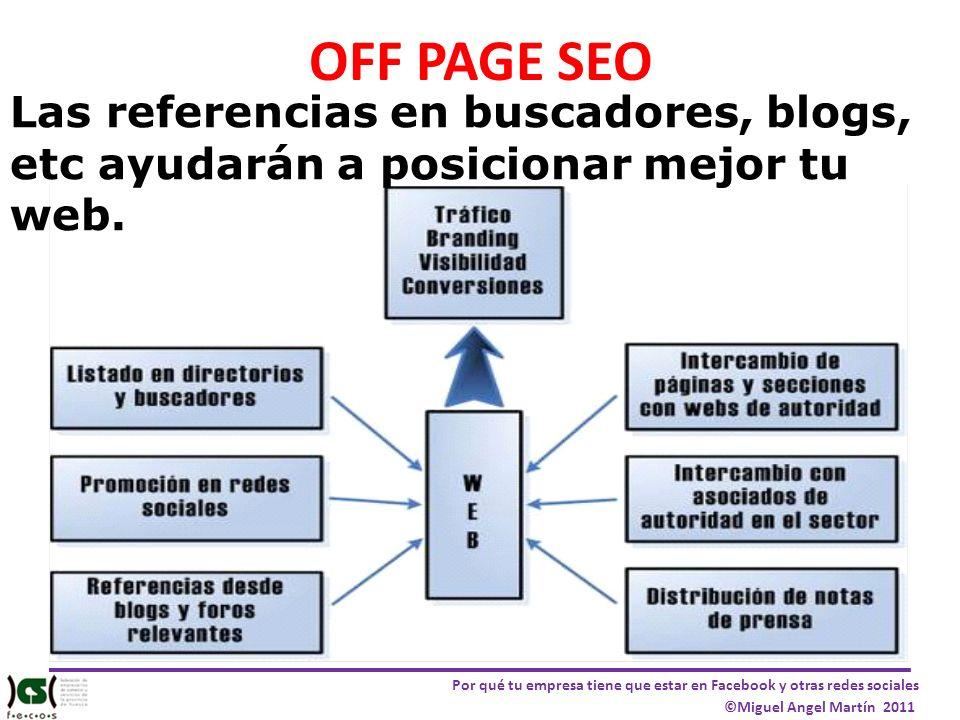 Por qué tu empresa tiene que estar en Facebook y otras redes sociales ©Miguel Angel Martín 2011 OFF PAGE SEO Las referencias en buscadores, blogs, etc