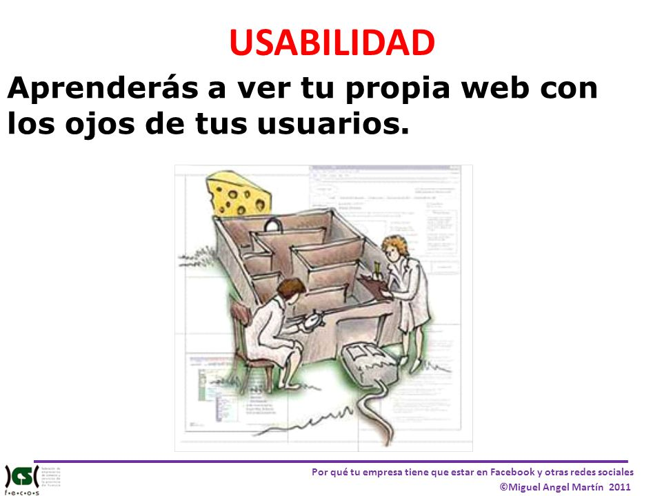 Por qué tu empresa tiene que estar en Facebook y otras redes sociales ©Miguel Angel Martín 2011 USABILIDAD Aprenderás a ver tu propia web con los ojos