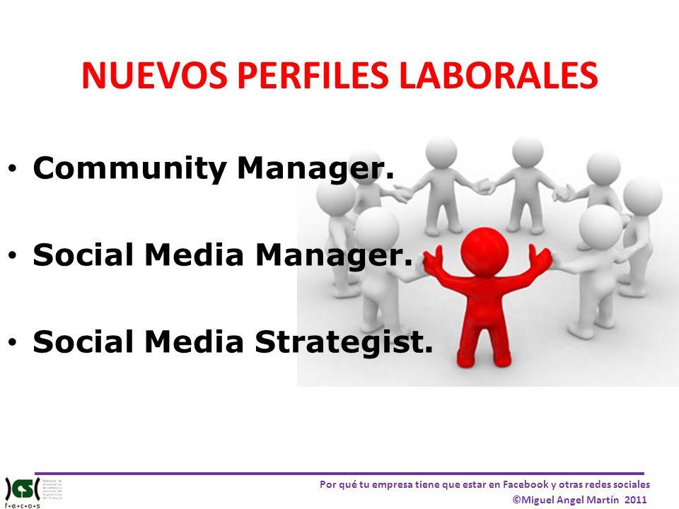 Por qué tu empresa tiene que estar en Facebook y otras redes sociales ©Miguel Angel Martín 2011 NUEVOS PERFILES LABORALES Community Manager. Social Me