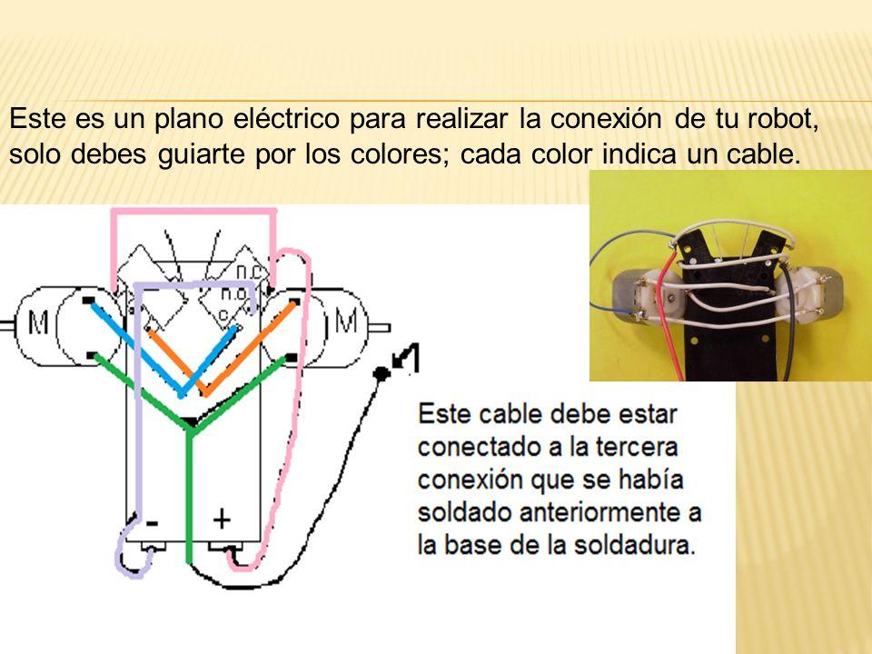 Este es un plano eléctrico para realizar la conexión de tu robot, solo debes guiarte por los colores; cada color indica un cable.