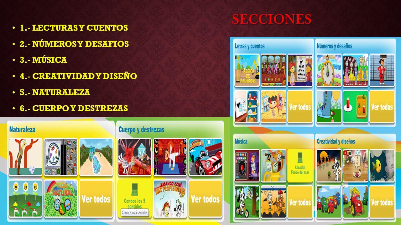 SECCIONES 1.- LECTURAS Y CUENTOS 1.- LECTURAS Y CUENTOS 2.- NÚMEROS Y DESAFIOS 2.- NÚMEROS Y DESAFIOS 3.- MÚSICA 3.- MÚSICA 4.- CREATIVIDAD Y DISEÑO 4.- CREATIVIDAD Y DISEÑO 5.- NATURALEZA 5.- NATURALEZA 6.- CUERPO Y DESTREZAS 6.- CUERPO Y DESTREZAS