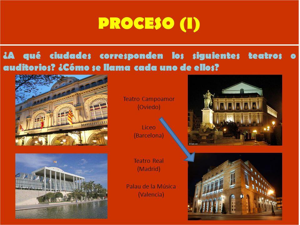 PROCESO (I) ¿A qué ciudades corresponden los siguientes teatros o auditorios.