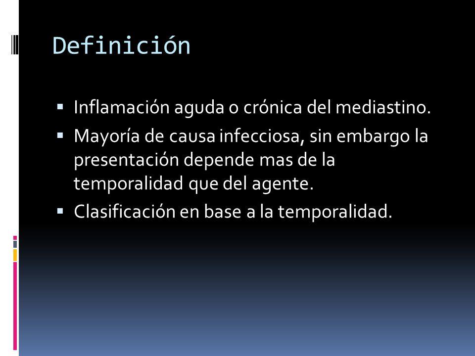Definición Inflamación aguda o crónica del mediastino.