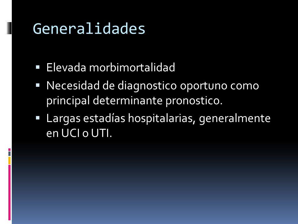 Generalidades Elevada morbimortalidad Necesidad de diagnostico oportuno como principal determinante pronostico.