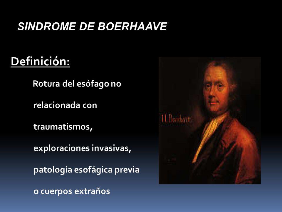 SINDROME DE BOERHAAVE Definición: Rotura del esófago no relacionada con traumatismos, exploraciones invasivas, patología esofágica previa o cuerpos extraños