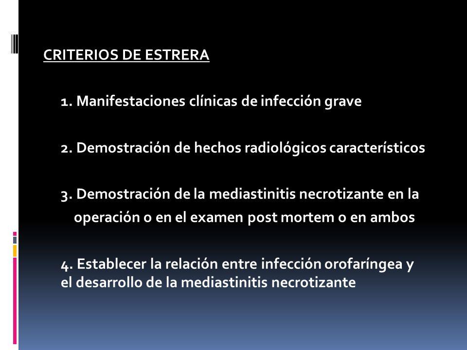 CRITERIOS DE ESTRERA 1.Manifestaciones clínicas de infección grave 2.