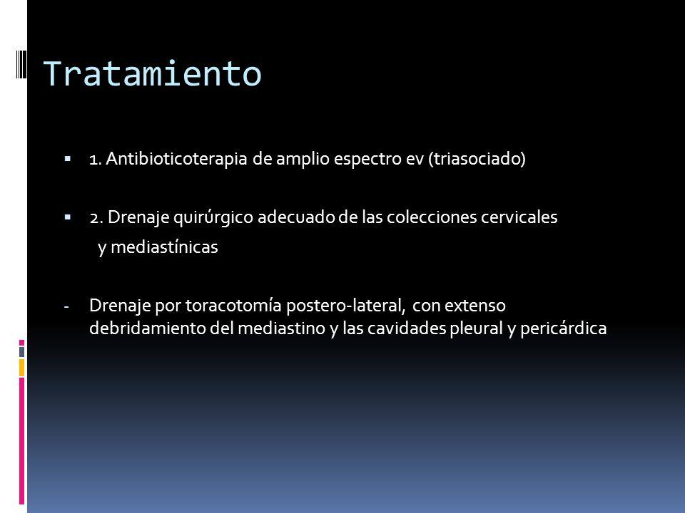 Tratamiento 1.Antibioticoterapia de amplio espectro ev (triasociado) 2.