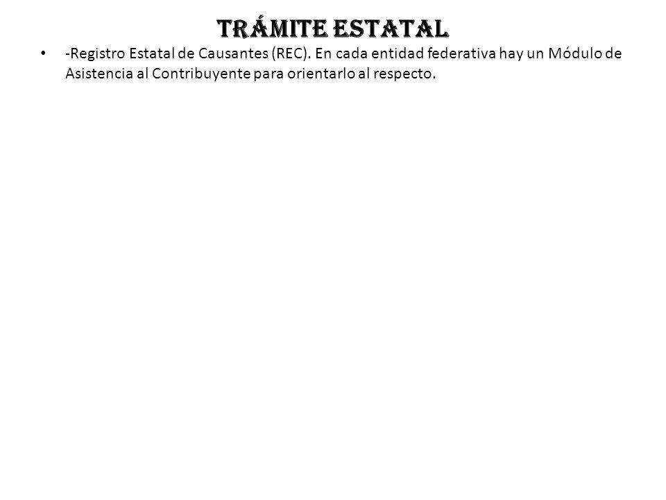 Trámite estatal -Registro Estatal de Causantes (REC).