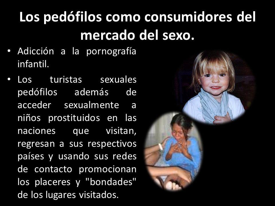 Los pedófilos como consumidores del mercado del sexo. Adicción a la pornografía infantil. Los turistas sexuales pedófilos además de acceder sexualment