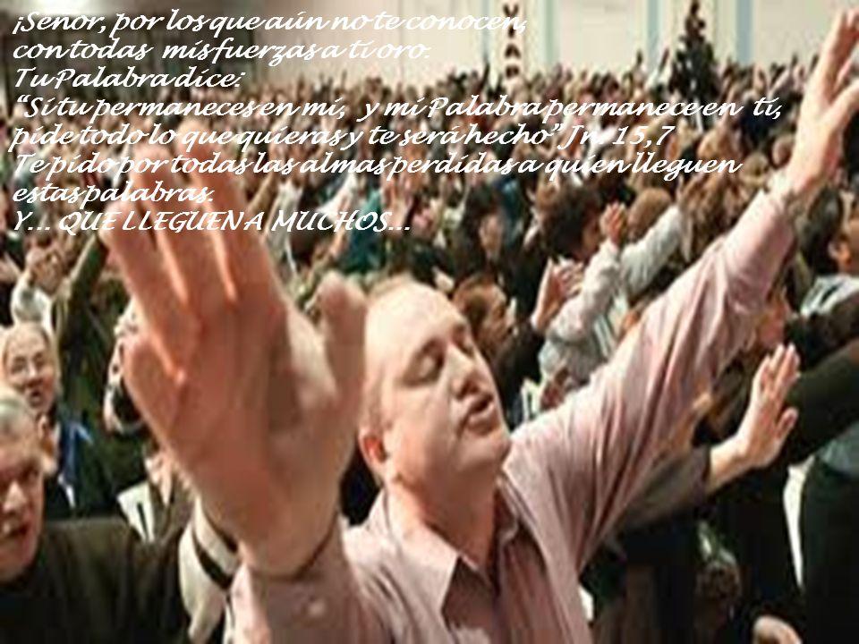 ¡Señor, por los que aún no te conocen, con todas mis fuerzas a ti oro. Tu Palabra dice: Si tu permaneces en mi, y mi Palabra permanece en ti, pide tod