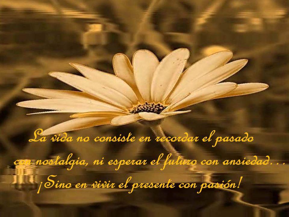 La vida no consiste en recordar el pasado con nostalgia, ni esperar el futuro con ansiedad… ¡Sino en vivir el presente con pasión!
