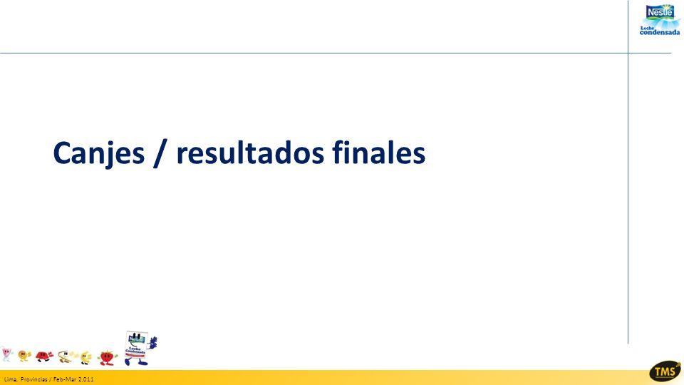 Lima, Provincias / Feb-Mar 2,011 Canjes / resultados finales