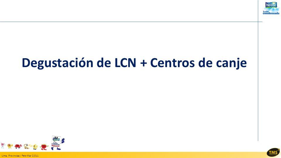 Lima, Provincias / Feb-Mar 2,011 Degustación de LCN + Centros de canje