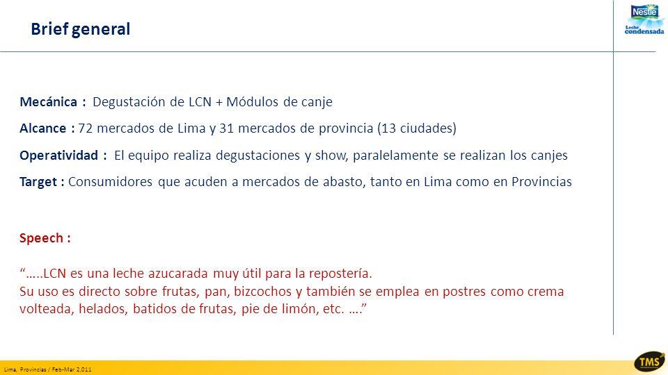 Lima, Provincias / Feb-Mar 2,011 Mecánica : Degustación de LCN + Módulos de canje Alcance : 72 mercados de Lima y 31 mercados de provincia (13 ciudade