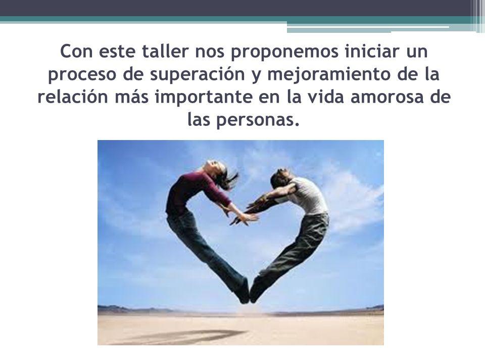 Con este taller nos proponemos iniciar un proceso de superación y mejoramiento de la relación más importante en la vida amorosa de las personas.