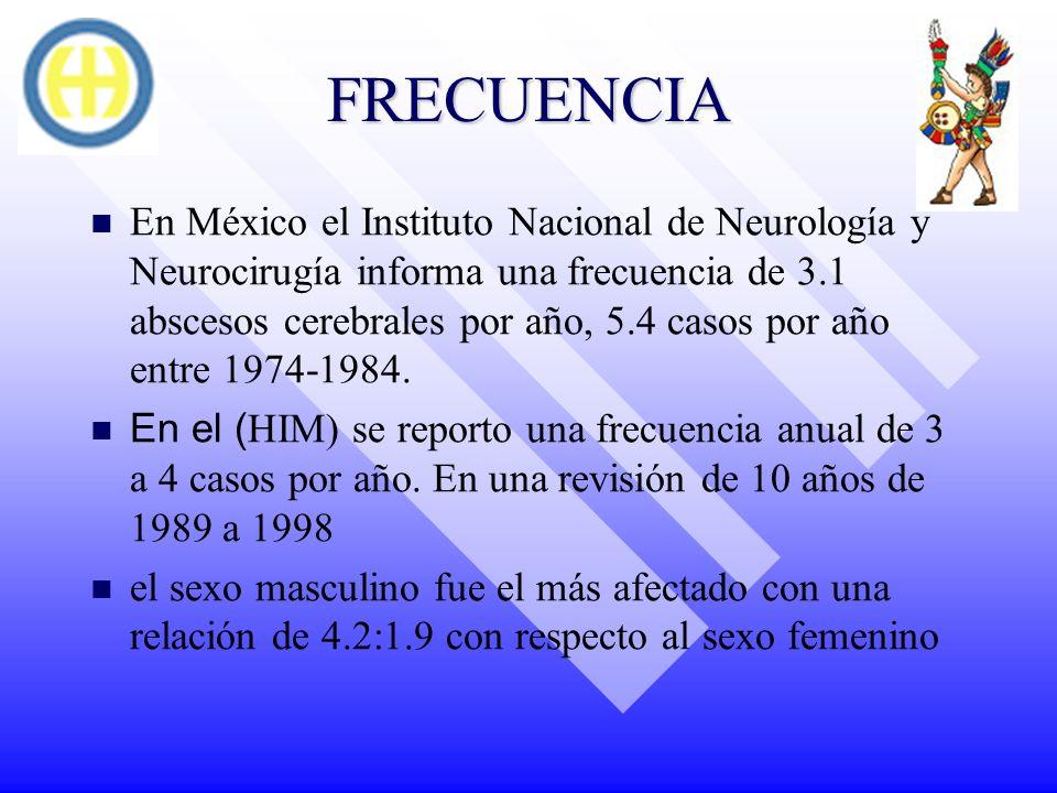 FRECUENCIA En México el Instituto Nacional de Neurología y Neurocirugía informa una frecuencia de 3.1 abscesos cerebrales por año, 5.4 casos por año e