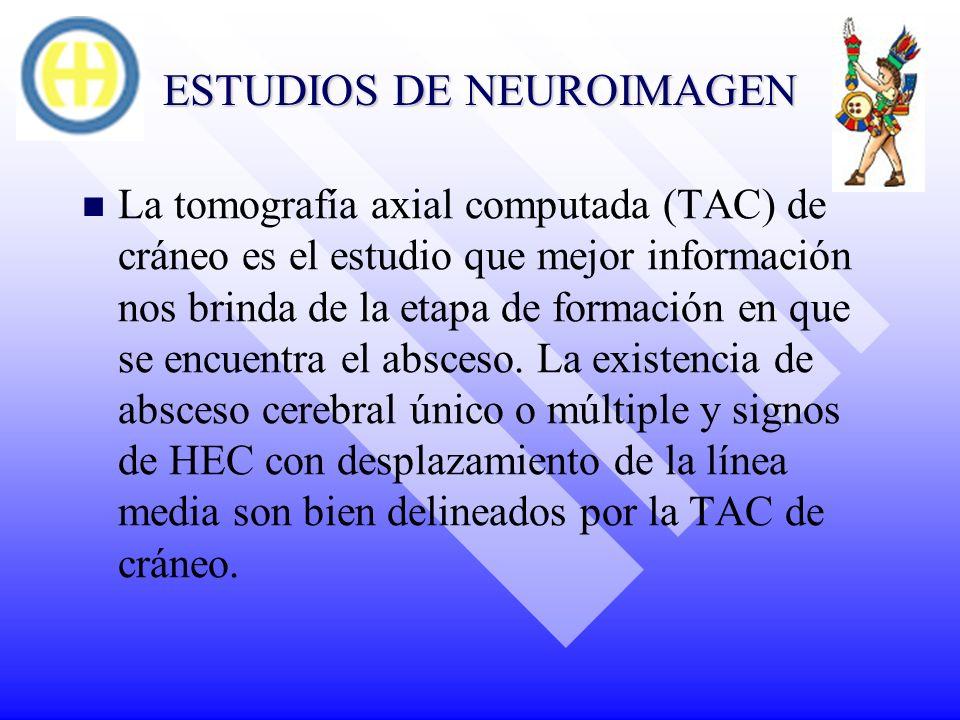 ESTUDIOS DE NEUROIMAGEN La tomografía axial computada (TAC) de cráneo es el estudio que mejor información nos brinda de la etapa de formación en que s