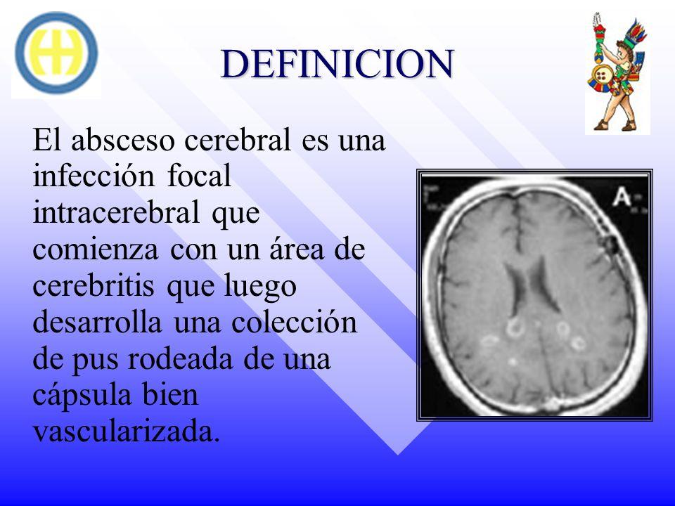 DEFINICION El absceso cerebral es una infección focal intracerebral que comienza con un área de cerebritis que luego desarrolla una colección de pus r