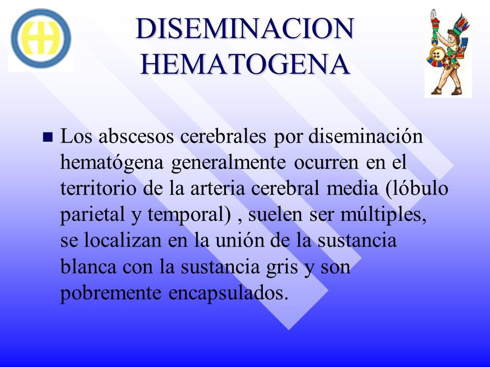 DISEMINACION HEMATOGENA Los abscesos cerebrales por diseminación hematógena generalmente ocurren en el territorio de la arteria cerebral media (lóbulo
