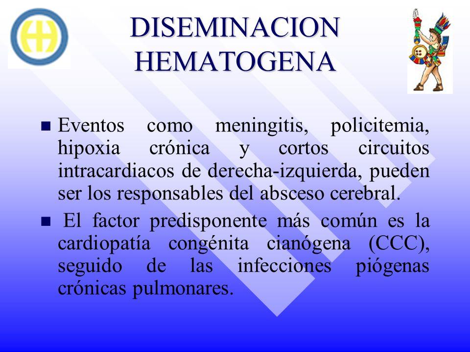 DISEMINACION HEMATOGENA Eventos como meningitis, policitemia, hipoxia crónica y cortos circuitos intracardiacos de derecha-izquierda, pueden ser los r
