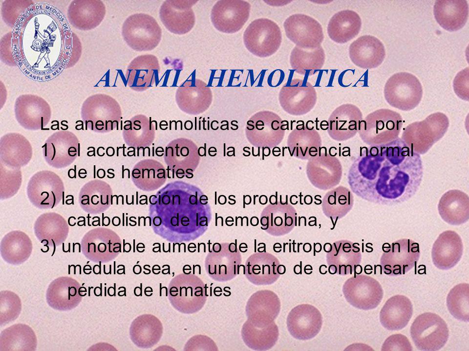 ANEMIA HEMOLITICA Las anemias hemolíticas se caracterizan por: 1)el acortamiento de la supervivencia normal de los hematíes 2) la acumulación de los p
