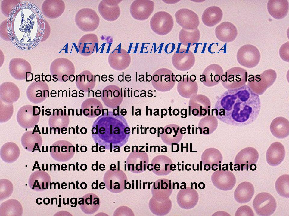 ANEMIA HEMOLITICA Datos comunes de laboratorio a todas las anemias hemolíticas: · Disminución de la haptoglobina · Aumento de la eritropoyetina · Aume