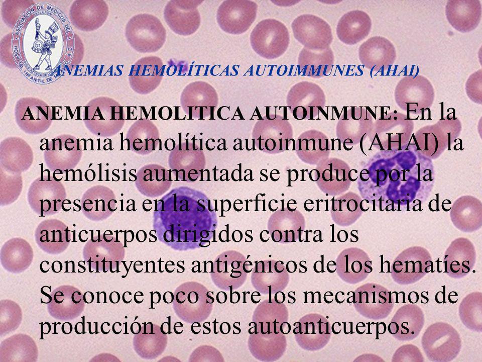 ANEMIAS HEMOLÍTICAS AUTOIMMUNES (AHAI) Algunas enfermedades (infecciones víricas, neoplasias, enfermedades sistémicas) estimulan la producción de autoanticuerpos antieritrocitarios y originan las AHAI secundarias.