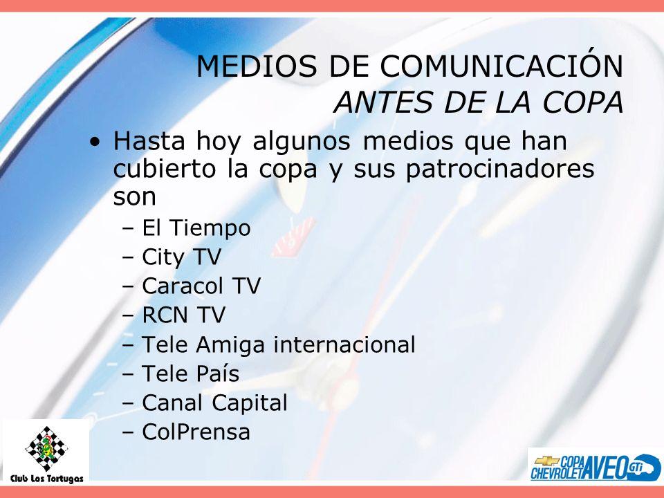 MEDIOS DE COMUNICACIÓN ANTES DE LA COPA Hasta hoy algunos medios que han cubierto la copa y sus patrocinadores son –El Tiempo –City TV –Caracol TV –RC