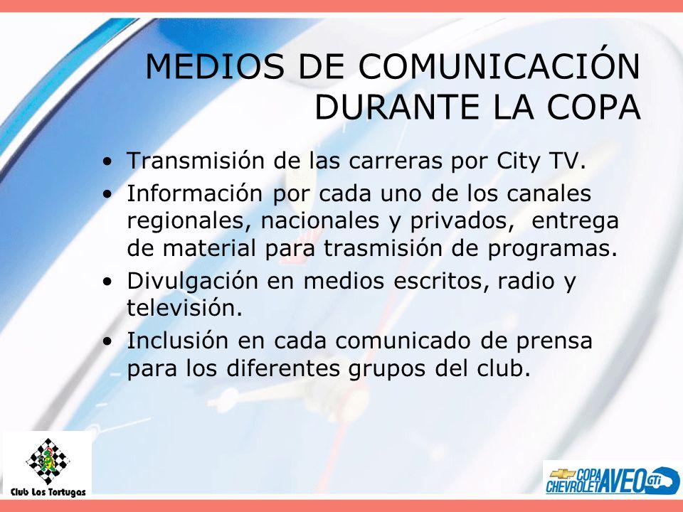 MEDIOS DE COMUNICACIÓN DURANTE LA COPA Transmisión de las carreras por City TV. Información por cada uno de los canales regionales, nacionales y priva