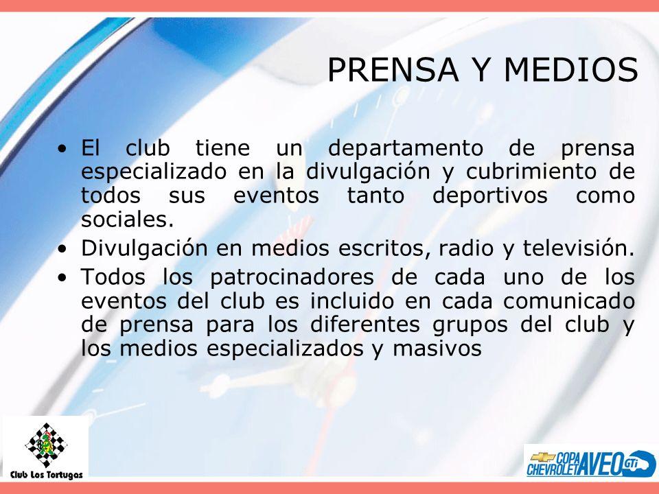PRENSA Y MEDIOS El club tiene un departamento de prensa especializado en la divulgación y cubrimiento de todos sus eventos tanto deportivos como sociales.