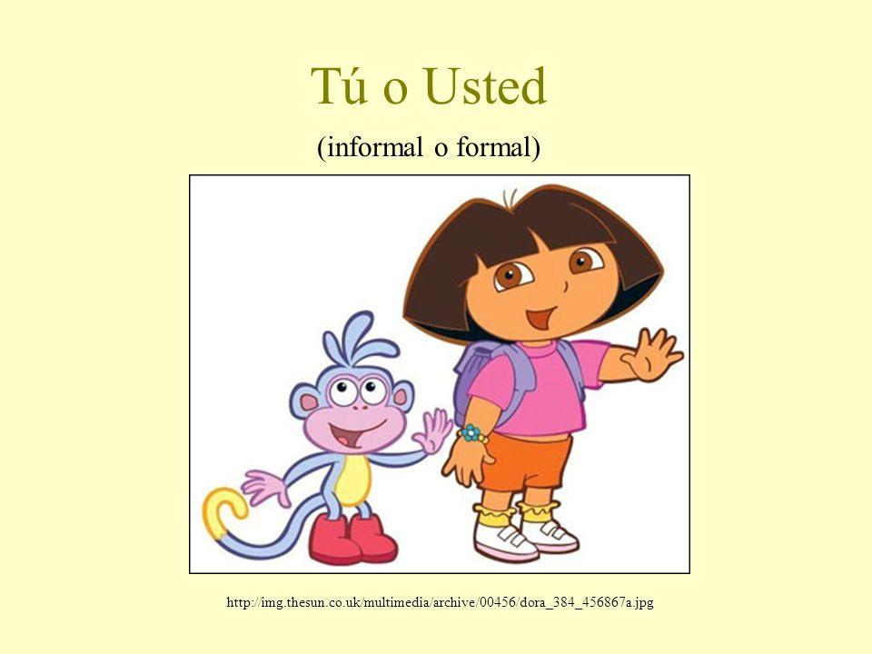 Tú o Usted (informal o formal) http://img.thesun.co.uk/multimedia/archive/00456/dora_384_456867a.jpg