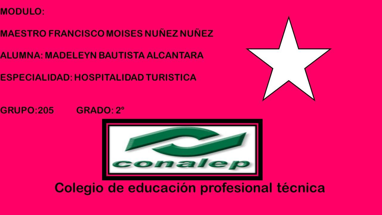 MODULO: MAESTRO FRANCISCO MOISES NUÑEZ NUÑEZ ALUMNA: MADELEYN BAUTISTA ALCANTARA ESPECIALIDAD: HOSPITALIDAD TURISTICA GRUPO:205 GRADO: 2° Colegio de educación profesional técnica