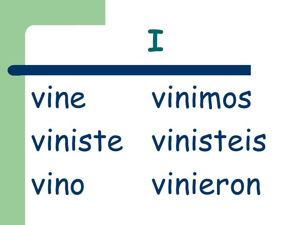 I vinevinimos vinistevinisteis vinovinieron
