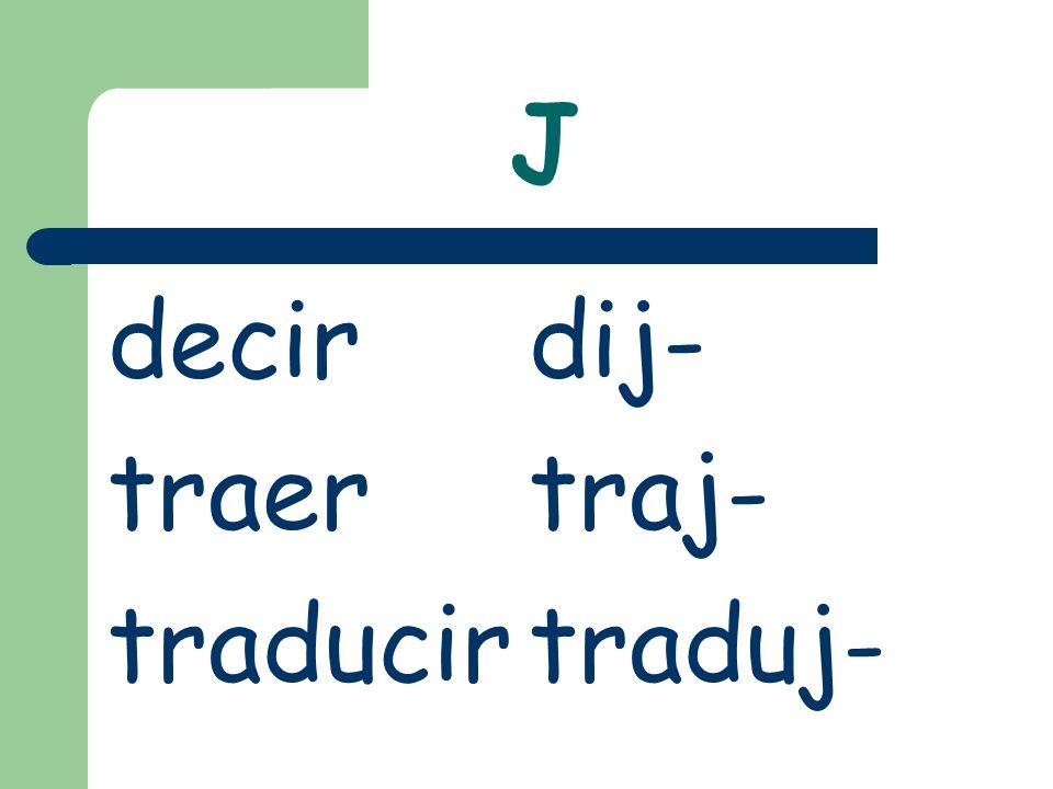 J decirdij- traertraj- traducirtraduj-