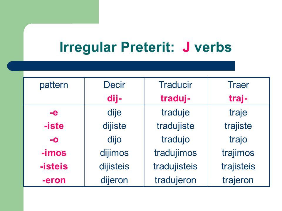 Irregular Preterit: J verbs patternDecir dij- Traducir traduj- Traer traj- -e -iste -o -imos -isteis -eron dije dijiste dijo dijimos dijisteis dijeron