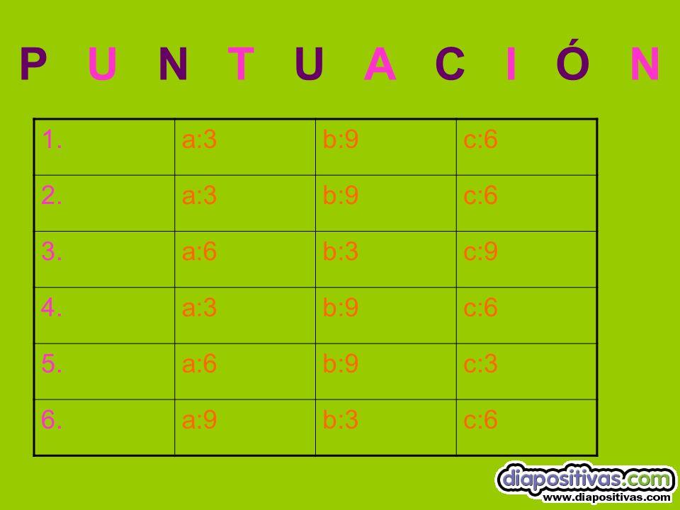 P U N T U A C I Ó N 1.a:3b:9c:6 2.a:3b:9c:6 3.a:6b:3c:9 4.a:3b:9c:6 5.a:6b:9c:3 6.a:9b:3c:6