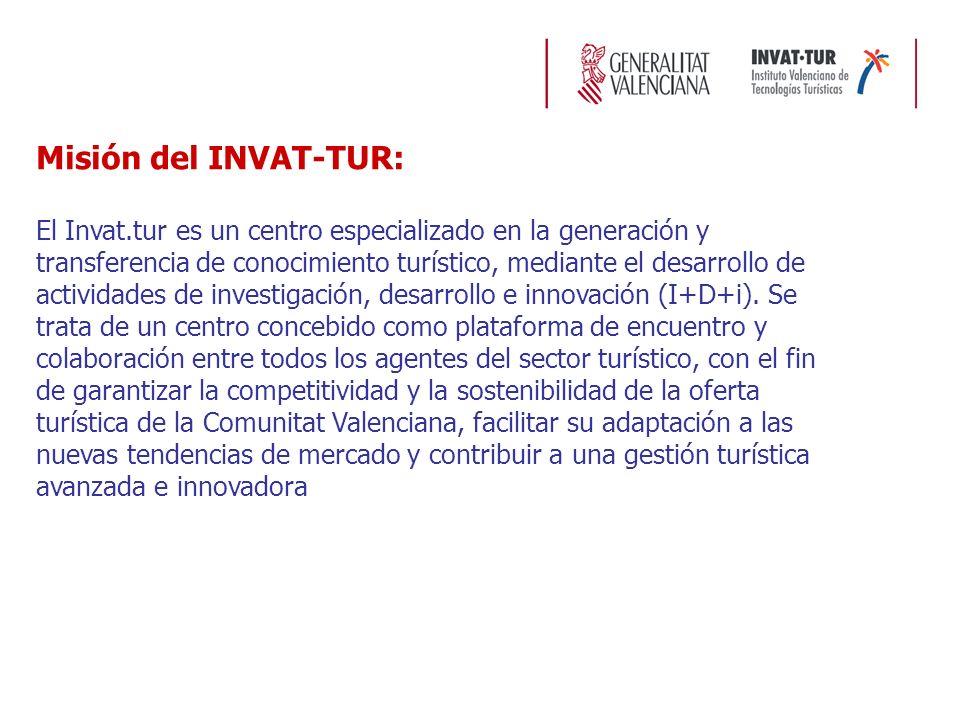 Misión del INVAT-TUR: El Invat.tur es un centro especializado en la generación y transferencia de conocimiento turístico, mediante el desarrollo de actividades de investigación, desarrollo e innovación (I+D+i).