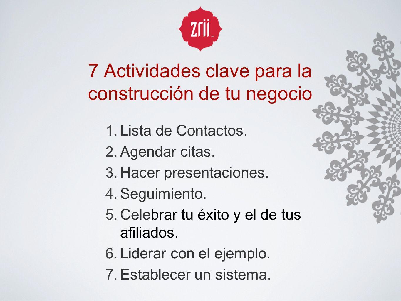 7 Actividades clave para la construcción de tu negocio 1. Lista de Contactos. 2. Agendar citas. 3. Hacer presentaciones. 4. Seguimiento. 5. Celebrar t