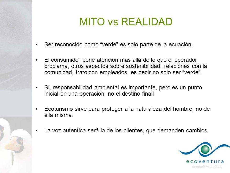MITO vs REALIDAD Ser reconocido como verde es solo parte de la ecuación. El consumidor pone atención mas allá de lo que el operador proclama; otros as
