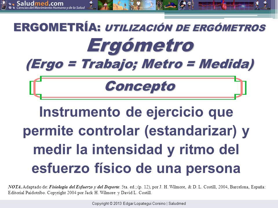 Instrumento de ejercicio que permite controlar (estandarizar) y medir la intensidad y ritmo del esfuerzo físico de una persona ERGOMETRÍA: UTILIZACIÓN DE ERGÓMETROS Ergómetro (Ergo = Trabajo; Metro = Medida) Concepto Concepto NOTA.