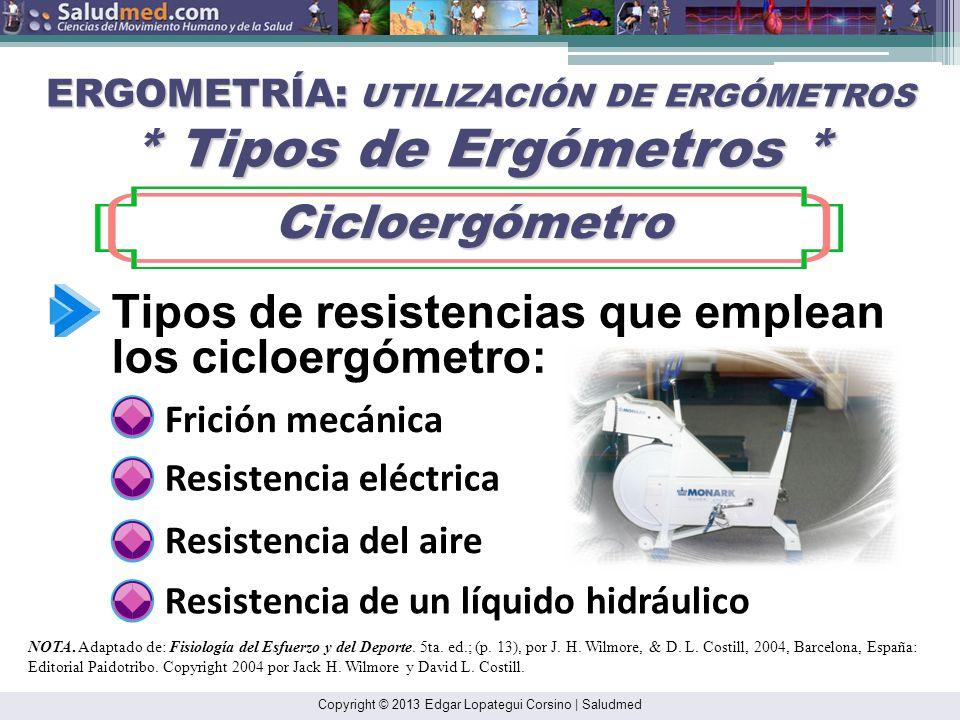 Copyright © 2013 Edgar Lopategui Corsino | Saludmed ERGOMETRÍA: UTILIZACIÓN DE ERGÓMETROS * Tipos de Ergómetros * Cicloergómetro Cicloergómetro Tipos de resistencias que emplean los cicloergómetro: Frición mecánica Resistencia eléctrica Resistencia del aire Resistencia de un líquido hidráulico NOTA.